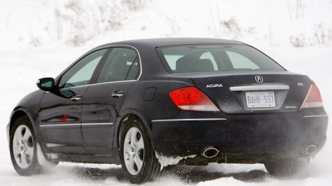1920x1080 wallpapers: acura, rl, black, rear view, style, auto, movement, snow (image)