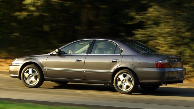 1920x1080 wallpapers: acura, 2002, gray, side view, trees, grass, auto, acura, speed, tl (image)