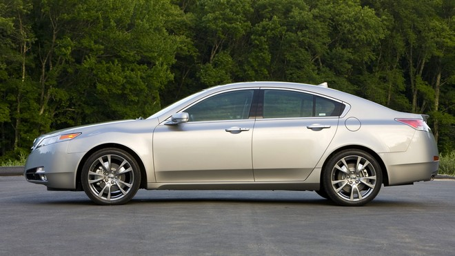 1920x1080 wallpapers: acura, 2008, silver metallic, side view, tl, asphalt, auto, acura, trees (image)