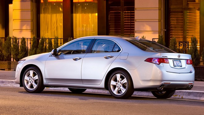 1920x1080 wallpapers: acura, 2008, silver metallic, side view, acura, tsx, auto, shrubs, asphalt, street, building (image)