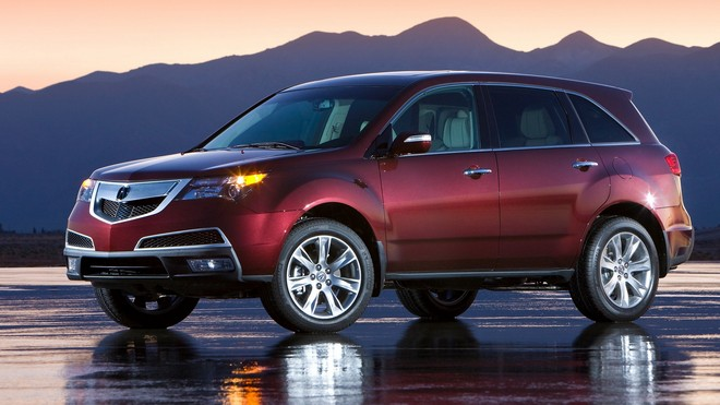 1920x1080 wallpapers: acura, burgundy, style, side view, sunset, mountains, wet asphalt, car, mdx, beautiful (image)