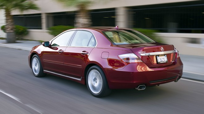 1920x1080 wallpapers: acura, sedan, red, rear view, rl, asphalt, speed, building, acura, auto (image)