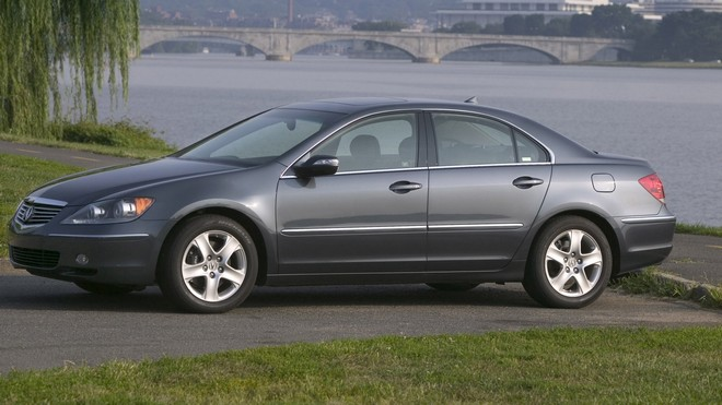 1920x1080 wallpapers: acura, gray, side view, style, tree, water, grass, city, auto, rl, nature, bridge (image)