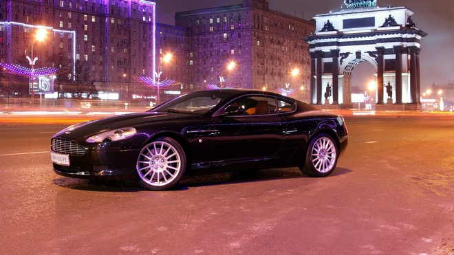 1920x1080 wallpapers: aston martin, db9, 2004, black, style, asphalt, aston martin, city, auto, houses, lights (image)