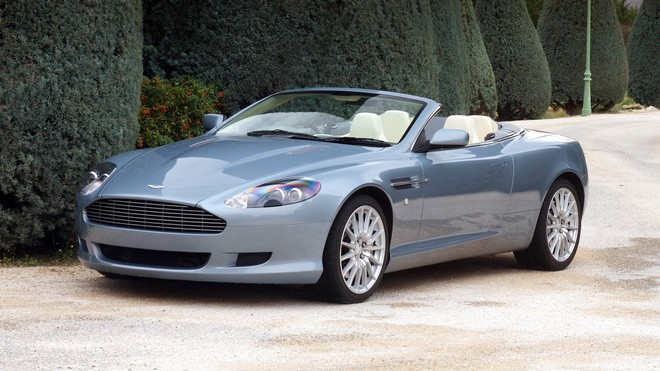 1920x1080 wallpapers: aston martin, db9, 2004, blue, auto, aston martin, nature, trees, shrubs, style (image)