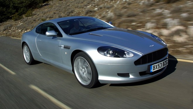 1920x1080 wallpapers: aston martin, db9, 2004, silver metallic, nature, asphalt, style, trees, speed, auto, aston martin (image)