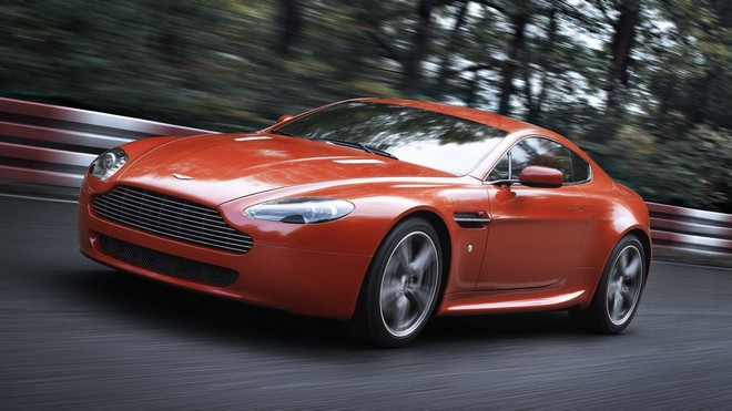 1920x1080 wallpapers: aston martin v8 vantage, 2008, red, front view, aston martin, trees (image)