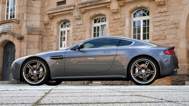 1920x1080 wallpapers: aston martin, v8, vantage, 2009, style, building, side view (image)