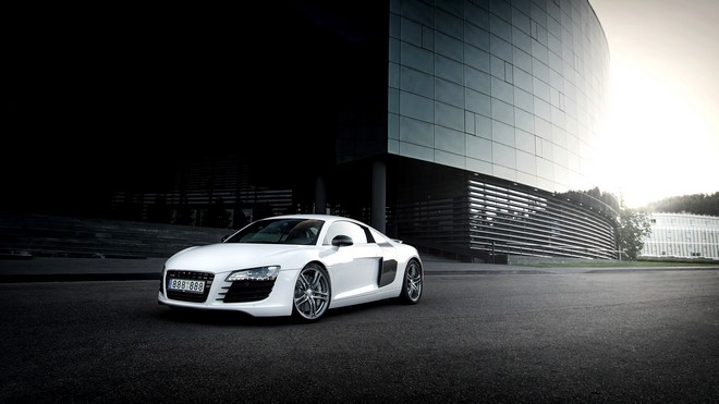 1920x1080 wallpapers: audi, r8, white, building (image)