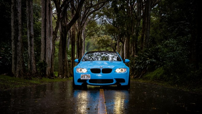 1920x1080 wallpapers: bmw 5, bmw, front view, car, road, forest, rain (image)