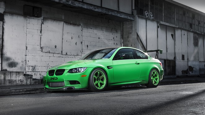 1920x1080 wallpapers: bmw, m3, e92, green, building, side view, shadow, wing, green (image)