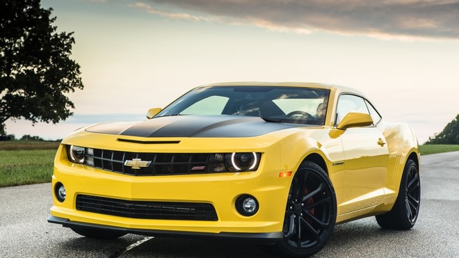 1920x1080 wallpapers: chevrolet, camaro, 1le, chevrolet, yellow, front, sky, tree, road, muscle car, muscle car (image)