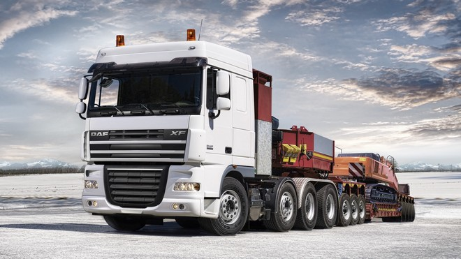 1920x1080 wallpapers: daf, xf105, truck, auto, trailer, excavator (image)