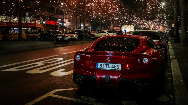 1920x1080 wallpapers: ferrari, rear view, red, night city (image)