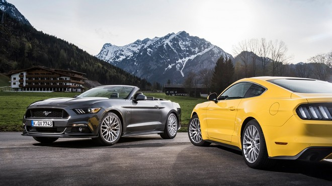 1920x1080 wallpapers: ford mustang, convertible, mountains, yellow (image)