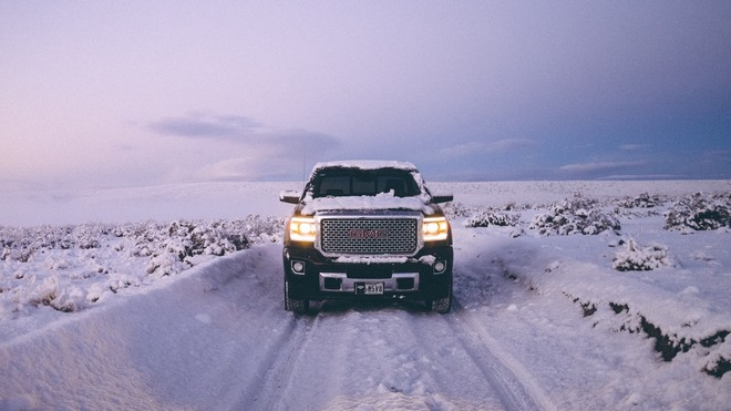 1920x1080 wallpapers: gms sierra, gms, pickup, SUV, snow, winter, front view, off road (image)