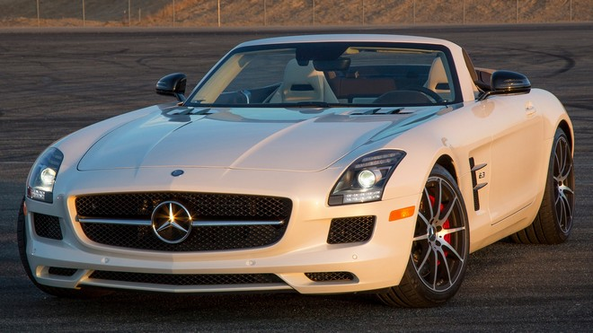 1920x1080 wallpapers: mercedes-benz, sls, 63, amg, convertible, white, side view (image)