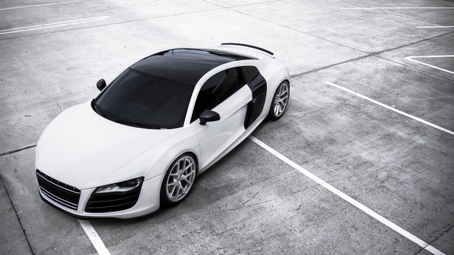 1920x1080 wallpapers: r8, audi, white, top view (image)