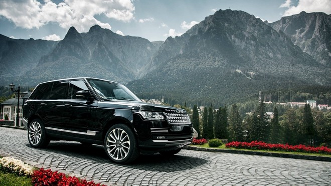 1920x1080 wallpapers: range rover, black, side view, mountains, perfect (image)