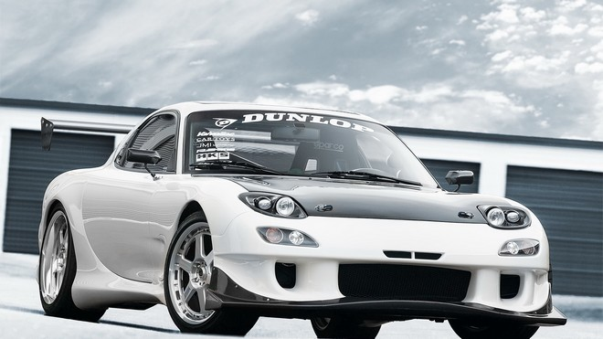 1920x1080 wallpapers: rx-7, white, mazda, dunlop (image)