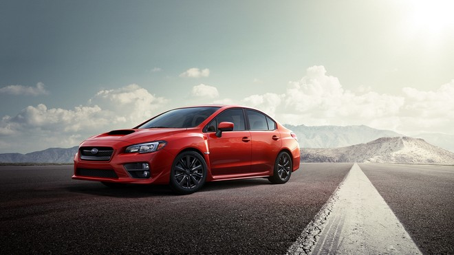 1920x1080 wallpapers: subaru, red, road, side view (image)