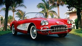 1960 chevrolet corvette, chevrolet corvette, chevrolet, convertible, red, palm trees - wallpapers, picture