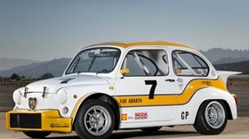 abarth fiat, 1000, 1970, white, yellow, retro, auto, abarth fiat, sport, side view, mountains - wallpapers, picture