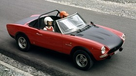 abarth, fiat 124, spider, red, black, side view, pilots, old, road, car - wallpapers, picture