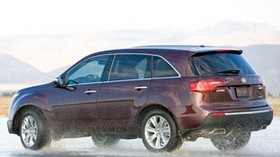 acura, mdx, burgundy, jeep, side view, acura, drift, wet asphalt, car - wallpapers, picture