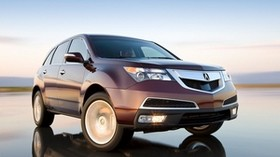 acura, mdx, burgundy, jeep, front view, acura, drift, wet asphalt, car, speed - wallpapers, picture