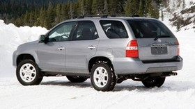 acura, mdx, silver metallic, jeep, side view, acura, auto, forest, snow - wallpapers, picture