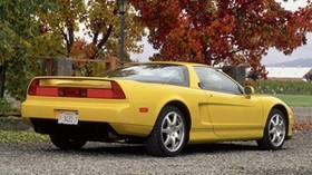 acura, nsx-t, yellow, side view, style, auto, acura, nature, trees - wallpapers, picture