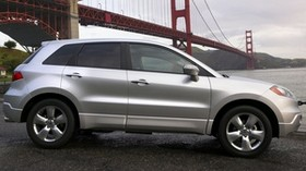 acura, rdx, silver metallic, jeep, side view, auto, style, bridge, river, acura - wallpapers, picture
