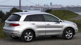 acura, rdx, silver metallic, side view, style, acura, auto, nature, city, grass, bushes, water, asphalt - wallpapers, picture