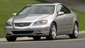 acura, rl, 2004, metallic gray, front view, style, acura, sedan, auto, grass, road - wallpapers, picture