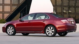acura, rl, 2008, red, side view, style, acura, auto, building, flashlight, asphalt - wallpapers, picture