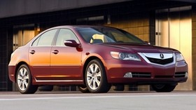 acura, rl, 2008, red, side view, style, acura, sedan, auto, asphalt, building - wallpapers, picture