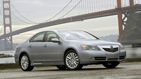 acura, rl, 2010, metallic gray, front view, style, sedan, acura, auto, grass, bridge, water - wallpapers, picture