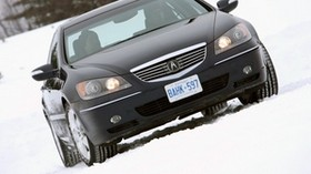 acura, rl, black, front view, style, acura, auto, snow, trees - wallpapers, picture