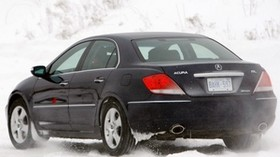 acura, rl, black, rear view, acura, auto, snow, style, movement - wallpapers, picture