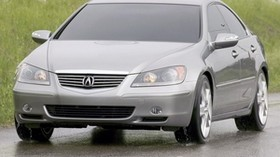 acura, rl, concept, 2004, metallic gray, front view, style, acura, concept car, auto, grass, fence, wet asphalt - wallpapers, picture