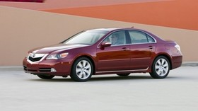 acura, rl, red, side view, acura, auto, style, movement, building - wallpapers, picture