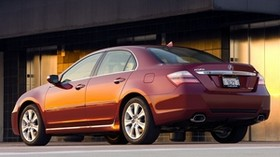 acura, rl, red, side view, style, acura, sedan, auto, building - wallpapers, picture