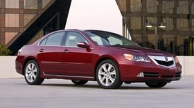 acura, rl, red, side view, style, acura, sedan, auto, building, asphalt - wallpapers, picture