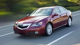 acura, rl, red, front view, style, acura, sedan, auto, speed, movement, nature, asphalt - wallpapers, picture