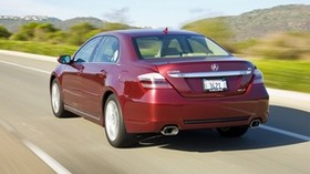 acura, rl, red, rear view, acura, auto, style, movement, speed, nature, mountains - wallpapers, picture