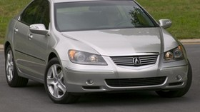 acura, rl, silver metallic, front view, acura, auto, grass - wallpapers, picture