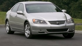 acura, rl, silver metallic, front view, acura, auto, grass, movement - wallpapers, picture