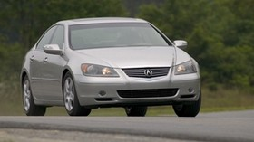 acura, rl, silver metallic, front view, style, acura, sedan, auto, road, nature, grass, trees - wallpapers, picture