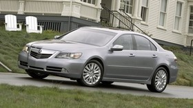 acura, rl, metallic gray, side view, style, auto, acura, building, grass - wallpapers, picture